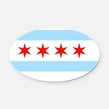 Chicago Flag Oval Car Magnet