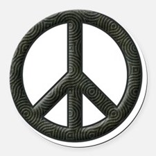 Peace Sign Silhouette Round Car Magnet