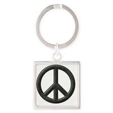 Peace Sign Silhouette Square Keychain