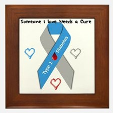 Type 1 Diabetes Awareness Ribbon Love  Framed Tile