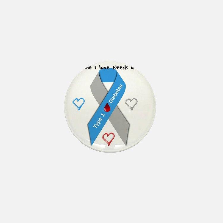 Type 1 Diabetes Awareness Ribbon Love  Mini Button