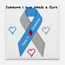 Type 1 Diabetes Awareness Ribbon Love Tile Coaster