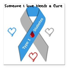 "Type 1 Diabetes Awarenes Square Car Magnet 3"" x 3"""