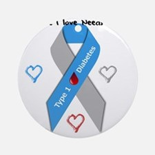 Type 1 Diabetes Awareness Ribbon Lo Round Ornament