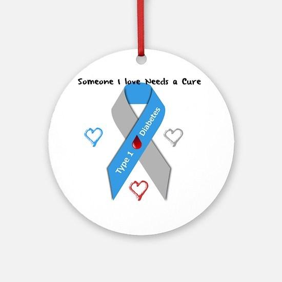 Type 1 Diabetes Awareness Ribbon Lo Round Ornament