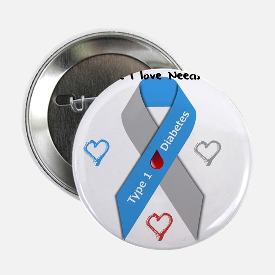 "Type 1 Diabetes Awareness Ribbon Love 2.25"" Button"