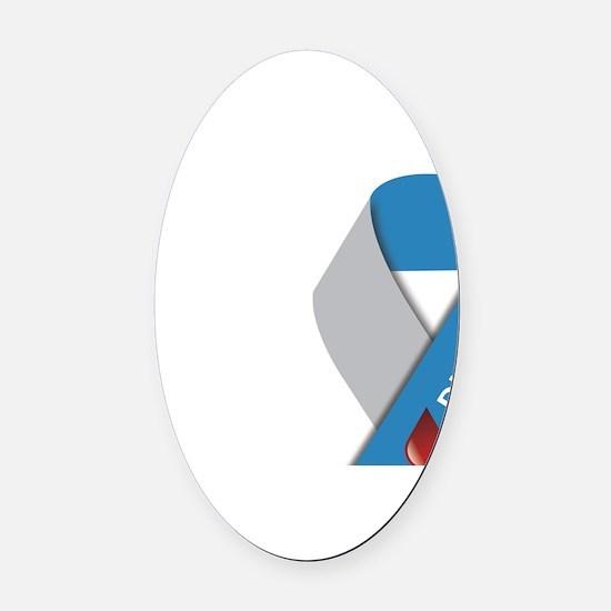 Type 1 Diabetes Awareness Ribbon Oval Car Magnet