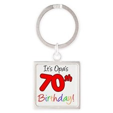 Opa 70th Birthday Square Keychain