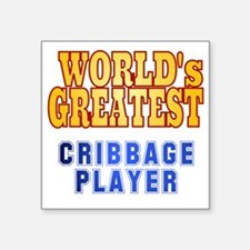 "World's Greatest Cribbage P Square Sticker 3"" x 3"""