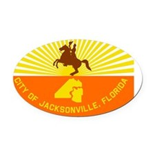 Jacksonville Flag Oval Car Magnet