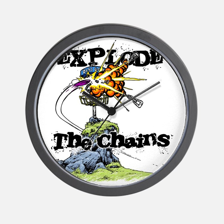 Disc Golf EXPLODE THE CHAINS Wall Clock
