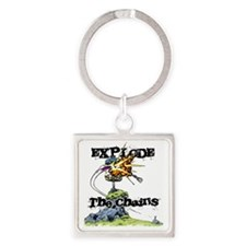 Disc Golf EXPLODE THE CHAINS Square Keychain