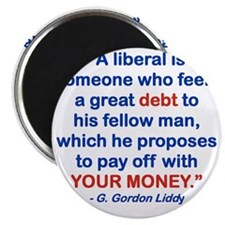 A LIBERAL IS SOMEONE WHO FEELS A GREAT DEBT Magnet