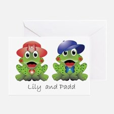 """Frogs """"Lily and Padd"""" Greeting Card"""