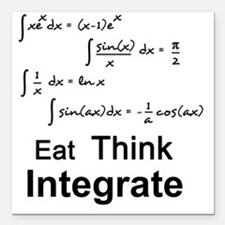 "Eat. Think. Integrate. Square Car Magnet 3"" x 3"""