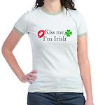 Kiss Me, I'm Irish Jr. Ringer T-Shirt
