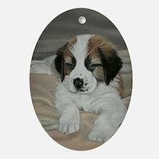 saint bernard puppy Oval Ornament