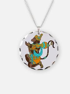 Kneeling Hanuman Necklace Circle Charm
