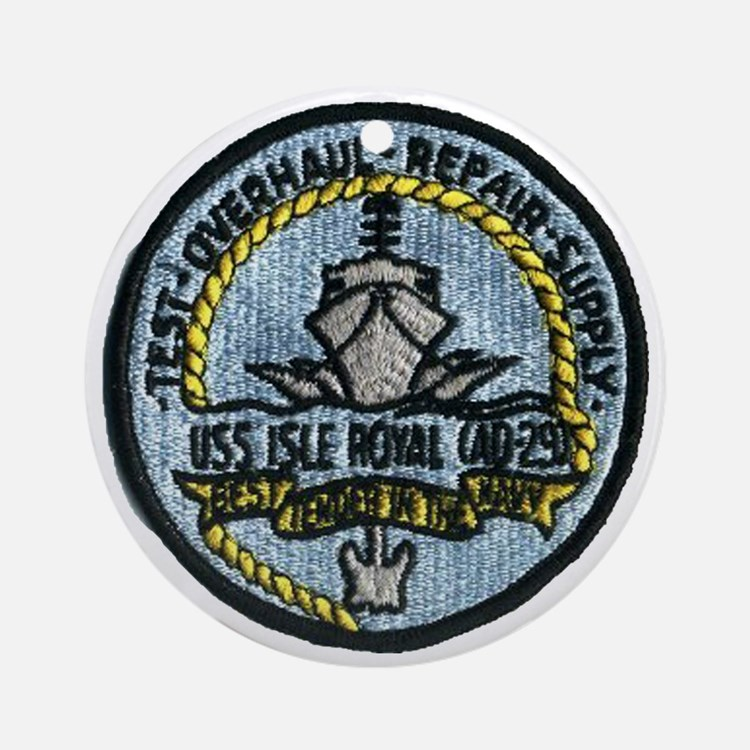 uss isle royale patch transparent Round Ornament