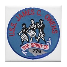 uss james c. owens patch transparent Tile Coaster