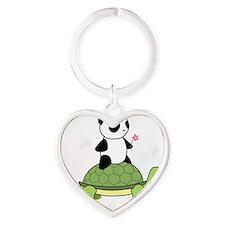 Turtle and Panda 1.1 Heart Keychain