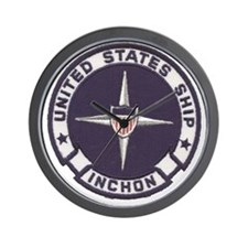 uss inchon patch transparent Wall Clock