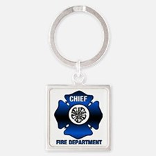 Fire Chief Square Keychain
