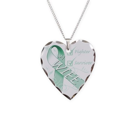 Wife is a Fighter and Surviv Necklace Heart Charm