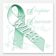 """Wife  is a Fighter and S Square Car Magnet 3"""" x 3"""""""
