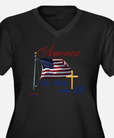 America One  Women's Plus Size Dark V-Neck T-Shirt