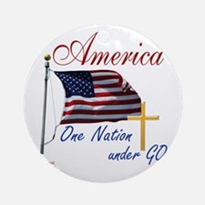 America One Nation Under God Round Ornament