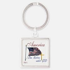 America One Nation Under God Square Keychain