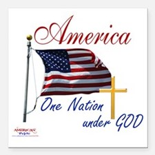 """America One Nation Under Square Car Magnet 3"""" x 3"""""""