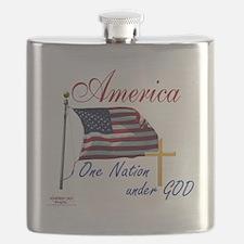 America One Nation Under God Flask
