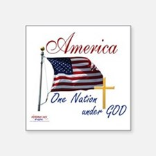 "America One Nation Under Go Square Sticker 3"" x 3"""