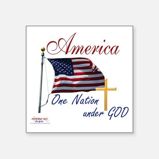 "America One Nation Under Go Square Sticker 3"" x 3"""