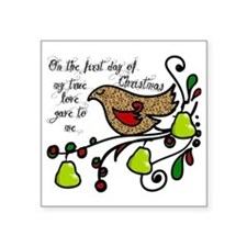 "Partridge in a pear tree Square Sticker 3"" x 3"""
