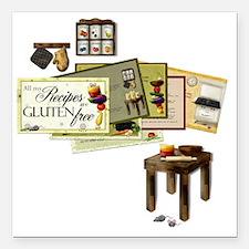 "Gluten Free Kitchen Square Car Magnet 3"" x 3"""
