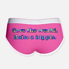 Save the world. Raise a hippie. Women's Boy Brief