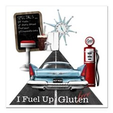 "Fuel Up Gluten Free Square Car Magnet 3"" x 3"""