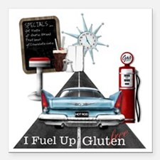 """Fuel Up Gluten Free Square Car Magnet 3"""" x 3"""""""