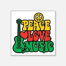 "Reggae Peace Love Music Square Sticker 3"" x 3"""