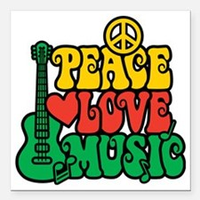 "Reggae Peace Love Music Square Car Magnet 3"" x 3"""