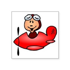 "Red airplane Square Sticker 3"" x 3"""