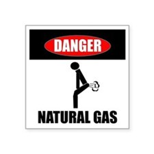 "Danger Natural Gas Square Sticker 3"" x 3"""
