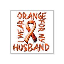 "I Wear Orange for my Husban Square Sticker 3"" x 3"""