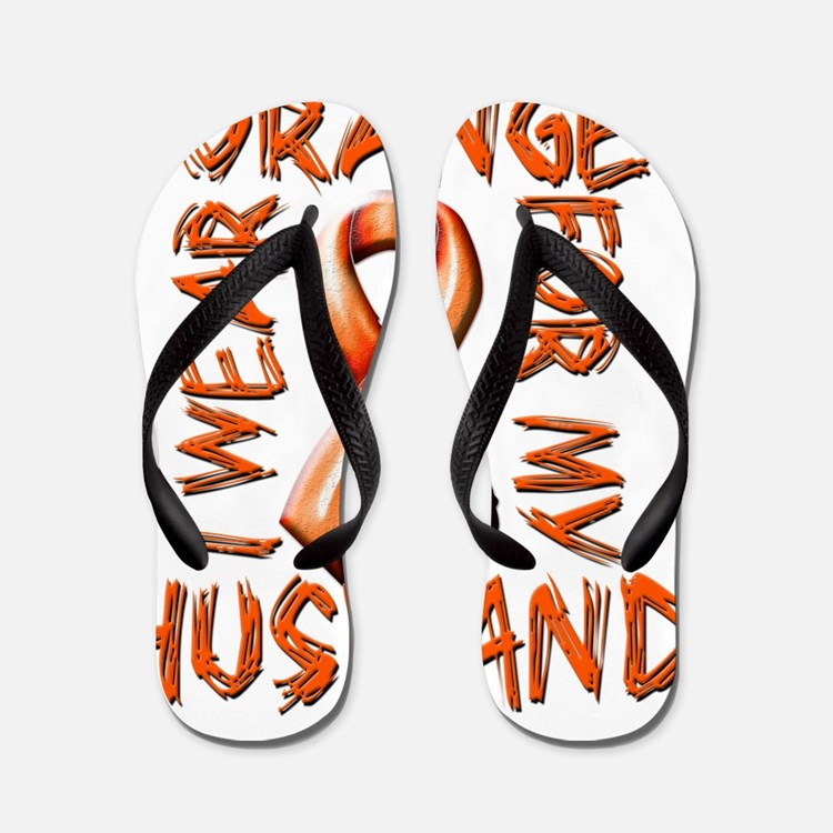 I Wear Orange for my Husband Flip Flops