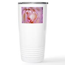Pink Rose With Dew Travel Mug