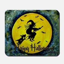 Scottish Terrier and Halloween Witch Mousepad
