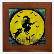 Scottish Terrier and Halloween Witch Framed Tile
